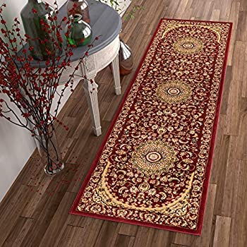 """Sultan Medallion Red Oriental Area Rug Persian Formal Traditional Area Rug 3 x 12 (27"""" x 12) Runner Easy Clean Stain Fade Resistant Shed Free Modern Classic Thick Soft Plush Living Dining Room Rug"""