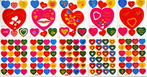 Jazzstick 1500 Fun Multi-Color Valentines Small Heart Stickers 10 sheets (VST04A01) - 1
