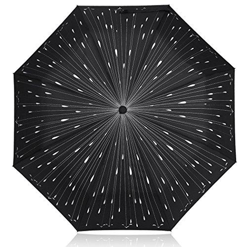 PLEMO Paraguas de Viaje Plegable Automático Gotas de Lluvia