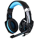 PS4 Headphones - iRush G9000 Game Headsets for PC Computer PlayStation 4 Xbox One with Microphone, Ergonomic Designed with Soft Earmuffs, Wired LED USB Earphones Over the Ear Headsets (Black / Blue) (Color: G9000 Blue)