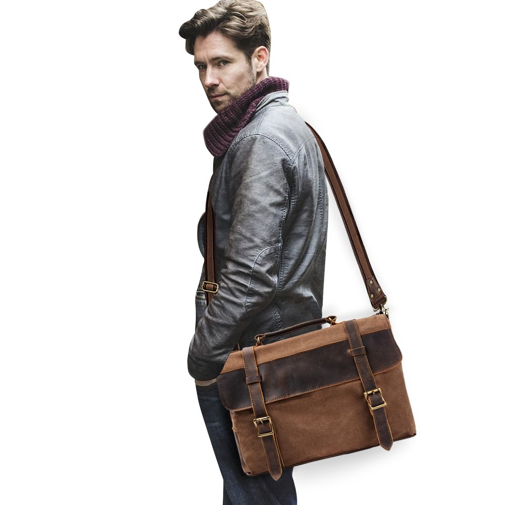 S ZONE Vintage Canvas Leather Messenger Traveling Briefcase Shoulder Laptop Bag 1