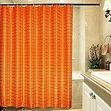 S-ZONE Luxury Designer Orange Shower Curtain With Hooks For Bathroom Waterproof Polyester 72x72 Inch