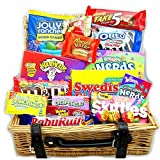 Large American Sweet Hamper Candy/Chocolate/Wonka/Nerds Christmas/Birthday Gift - in a Real Wicker Basket - Version 2