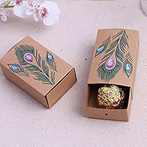 Wedding Gift Boxes Amazon : Amazon.com - 50pcs Wedding Favor Candy Box Diamond Peacock Wedding ...