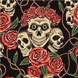 Tela negra de Alexander Henry con rosas rojas y calaveras be (por 0,5 m m�ltiples)