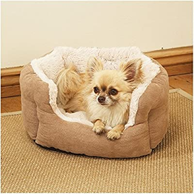 Rosewood Tan Faux Suede/ Plush Dog Bed