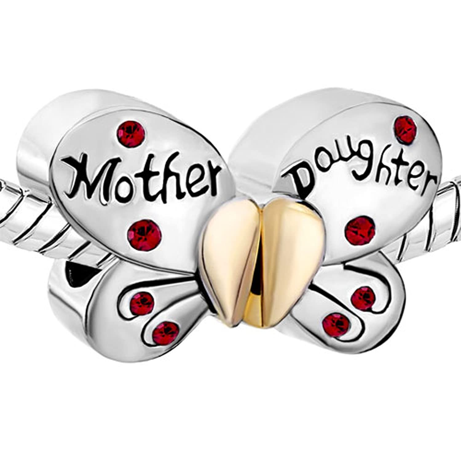 Pugster Silver Plated Mother Daughter Charms Separable Butterfly Bead Fits Pandora Charms Bracelet