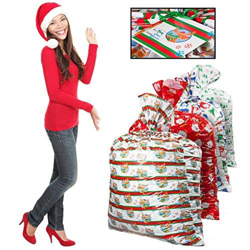 4 Assorted Christmas X-Mas Holiday Themed Gift Sacks Bags Lot 36