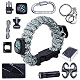 TTLIFE Ultimate 13-pieces Survival Kit including Paracord Bracelet (with Bottle Opener,Compass,Fire Starter,Whistle), BEST Survival Gear (Digital, Large)