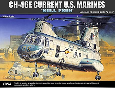 "[12283] Academy Maquettes Aviation 1/48 CH-46E Current U.S. Marines ""Bull Frog"""