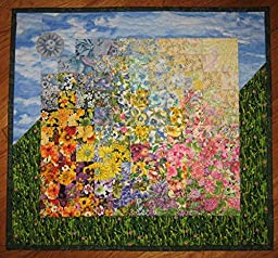 Spring Sunshine Garden Flowers Fabric Wall Hanging Handmade, 21 X 22\