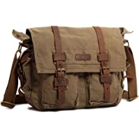 Kattee Canvas Leather Laptop Shoulder Messenger Bag (Multi Colors)