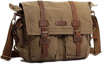 Kattee Canvas Leather Laptop Messenger Bag