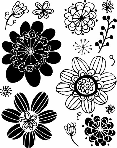 HOT FUDGE Flower Background Wood Rubber Stamp - 1