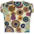 Kobwa(TM) Black White Geometric Flower Print Batwing Sleeve Chiffon Shirt Chiffon Top With Kobwa's Keyring