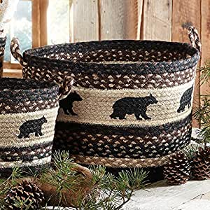Black bear braided utility rustic basket large rustic for Home decorations amazon