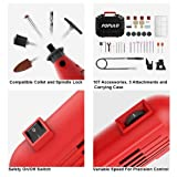 Populo High Performance Rotary Tool Kit with 107 Accessories, 3 Attachments, Variable Speed, Flex Shaft and Universal Collet for Abrasive, Polish, Cutting, Engraving, Drilling and Crafting DIY Project