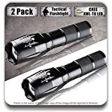 Timlon 2 Pack LED Tactical Flashlight Cree XM-L T6 2000 Lumen Zoomable and Waterproof LED Flashlight(black)