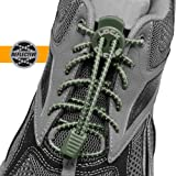 LOCK LACES (Patented Elastic Shoelace and Fastening System) (Reflective-Field Green)