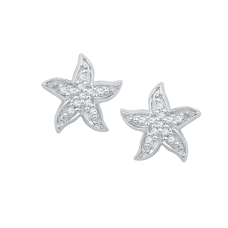 1/10 ct. tw. Diamond Starfish Earrings in Sterling Silver bach bachyo yo ma chris thile edgar meyer trios 2 lp