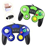 Poulep NGC Wired Controller for Wii Gamecube (Black Bule and Black Green) (Color: Black1 and Blue1)