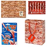 Bacon Lover's Gift Wrapping Set - Bacon Wrapping Paper, Bacon Gift Bag, Bacon Tape and Bacon Candy Canes