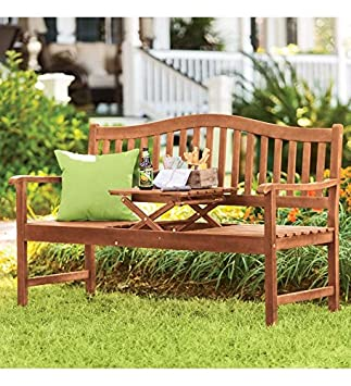 Eucalyptus Outdoor Bench With Built-In Pop-Up Table