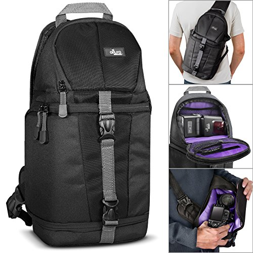 Altura Photo Camera Sling Backpack for DSLR Cameras (Canon Nikon Sony Pentax) + MagicFiber Microfiber Lens Cleaning Cloth