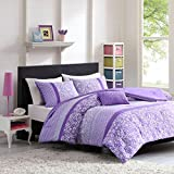 Mizone Riley 3 Piece Comforter Set, Twin/Twin X-Large, Purple