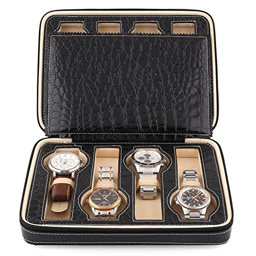 Amzdeal®  Eight 8 Slot Zippered Luxury Jewelry Leatherette Crocodile Pattern Case ,Watch Display Case ,Watch Travel Case, Watch Box,Watch Storage Organizer Collector Case (Black)