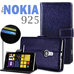 "YESOOâ""¢ Nokia Lumia 925 Folio Leather Wallet Case Flip Cover and Stand (Lavender)"