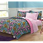 My Room Neon Leopard Ultra Soft Microfiber Girls Comforter Set, Multi-Colored, Twin/Twin X-Large