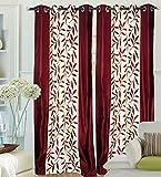 "Hargunz Eyelet Kolaveri Polyester Door Curtains - 84""x48"", Pack of 2 Curtain, Maroon (KS035-2-2)"