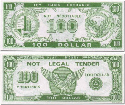 Toy Money 100 : Hmk play money dollar bill pcs