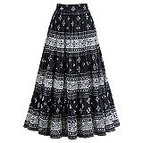 Women's Reversible Twilight Black And White Paisley Peasant Skirt