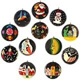 Diwali Ornaments Black Decor Paper Mache Balls Set of 12