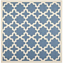Safavieh Courtyard Collection CY6913-243 Blue and Beige Indoor/ Outdoor Square Area Rug, 4 feet Square (4\' Square)