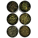Exotic and Rare Green Tea Loose Leaf Tea Sampler (6-Variety), Dragon Well, Gunpowder, Sencha, and More, Tea Leaves Variety Pack