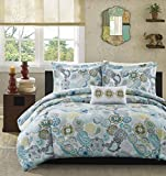 Mizone Tamil 4 Piece Comforter Set, Full/Queen, Blue