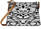 Snoogg black and white feast Womens Carry Around Sling Bags