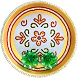 Handicraft Handmade Pooja Thali Aarti Thali Traditional Round Thali With 2 Diyas - Diwali Decorative Spiritual...