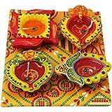 Artalley Designer Colorful Diya Set Of 4,festival Diya Decorations