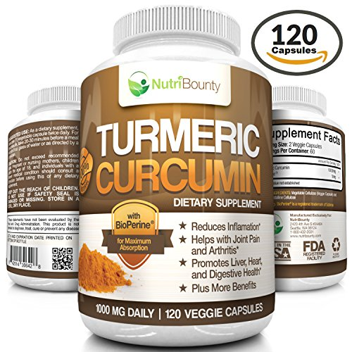 Turmeric Curcumin with BioPerine® (Black Pepper) - 1000mg per Serving (120 Capsules) | Anti-Inflammatory, Antioxidant | Ground Root Powder for Maximum Potency without Side Effects | by NutriBounty
