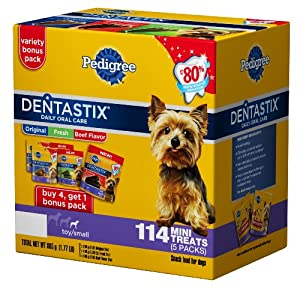Pedigree Dentastix 114 Count Oral Care Treats for Dogs, Mini, Original/Fresh/Beef , pack of 5