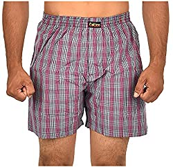 CALICO Men's Cotton Boxers (CAL_16_S, Purple and Grey, S)