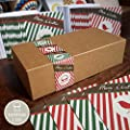Bright Stem Boxset 50 Small Christmas Cards 9.5 x 9.5cm Vintage Design