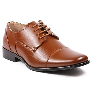 Magestik Men's Cognac Brown Lace Up Cap Toe Oxford Dress Shoes (9.5)
