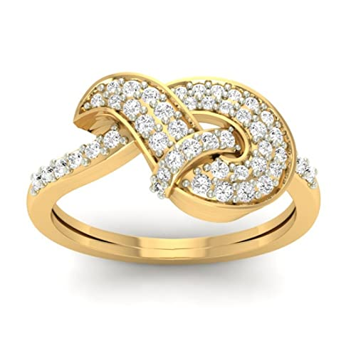 18K Yellow Gold 0.40cttw Round-Cut-Diamond (I-J Color, SI Clarity) Diamond Ring