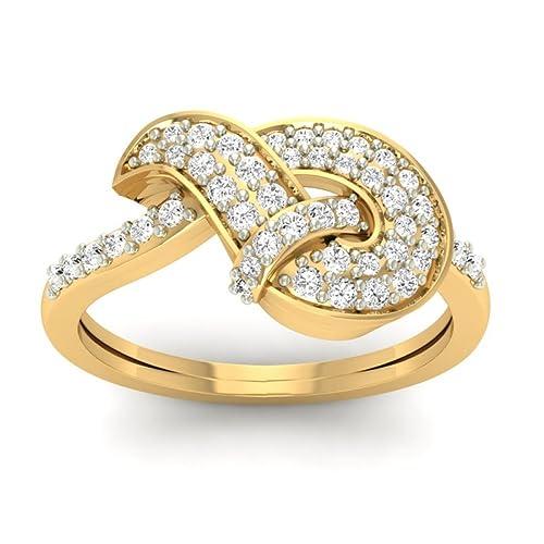18K Yellow Gold 0.40cttw Round-Cut-Diamond (I-J Color, SI Clarity) Diamond Ring