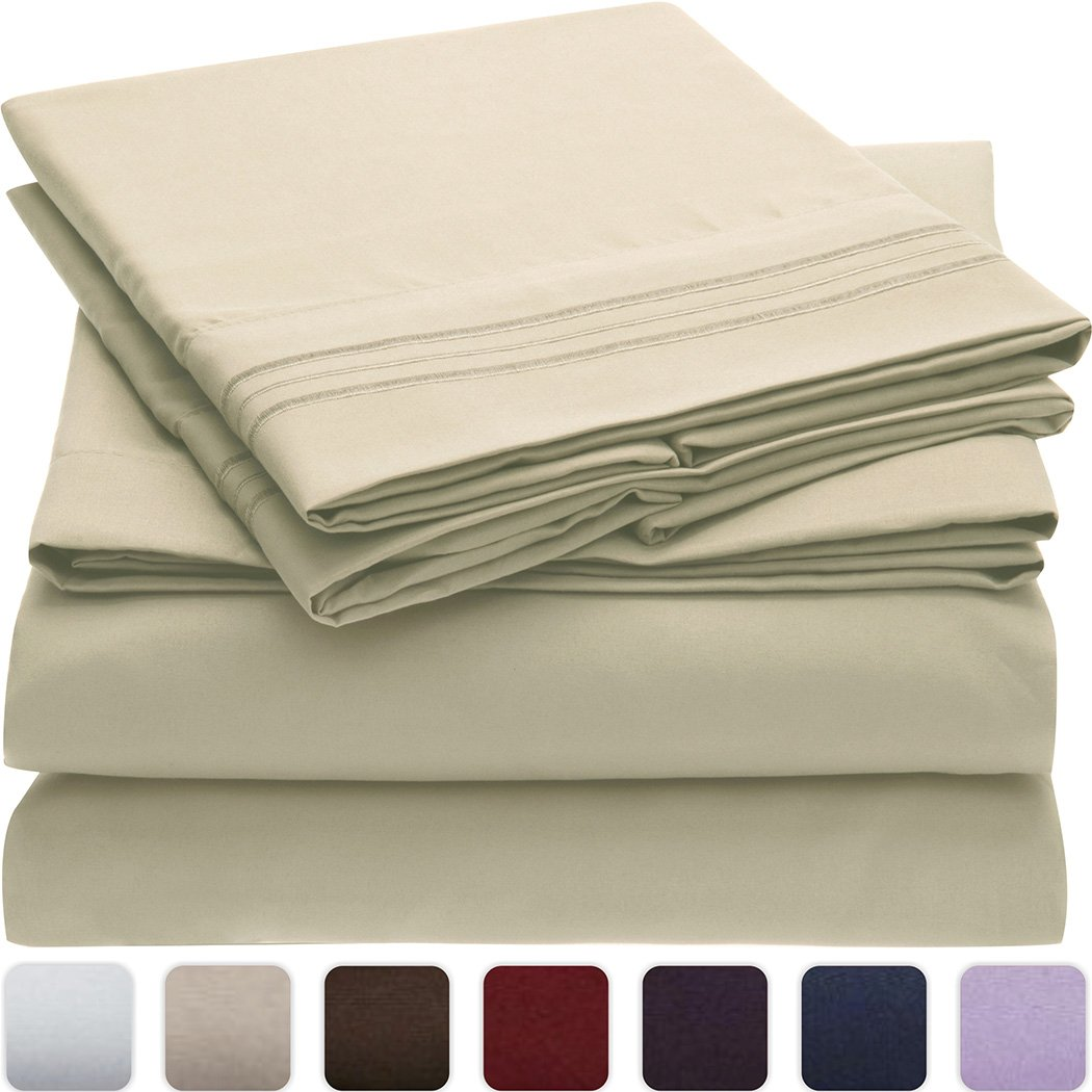 #1 Bed Sheet Set - HIGHEST QUALITY Brushed Microfiber 1800 Bedding - Wrinkle, Fade, Stain Resistant - Hypoallergenic - Mellanni (Queen, Beige)